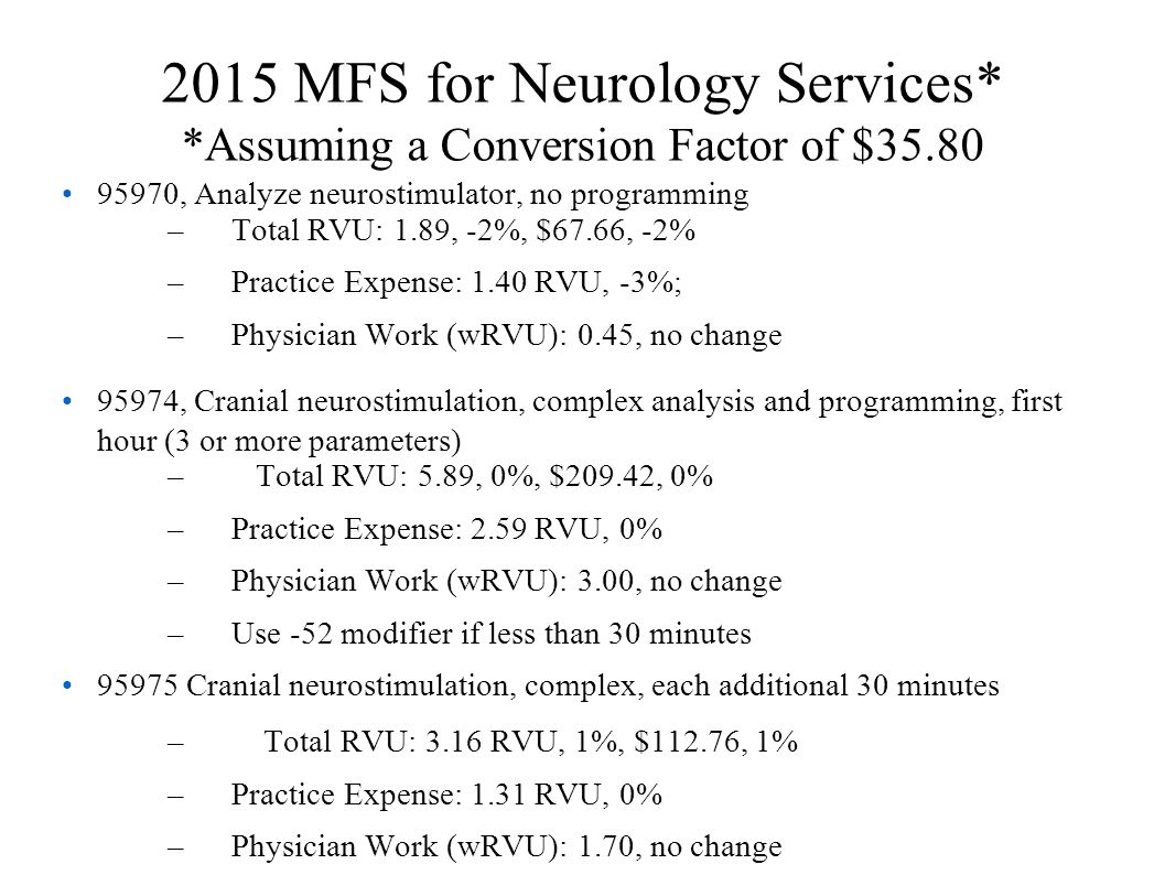 2015 MFS for Neurology Services. Assuming a Conversion Factor of $35