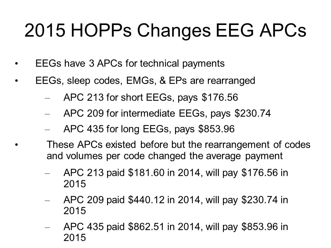 2015 HOPPs Changes EEG APCs EEGs have 3 APCs for technical payments