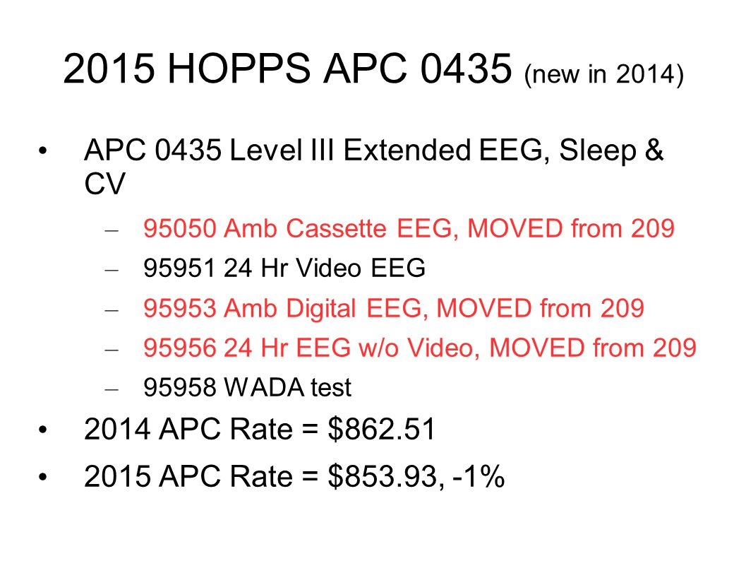 2015 HOPPS APC 0435 (new in 2014) APC 0435 Level III Extended EEG, Sleep & CV. 95050 Amb Cassette EEG, MOVED from 209.