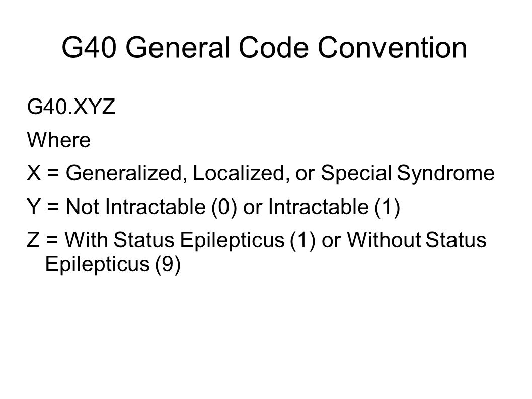 G40 General Code Convention