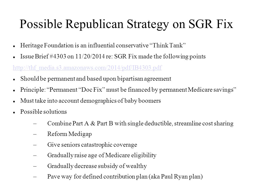 Possible Republican Strategy on SGR Fix