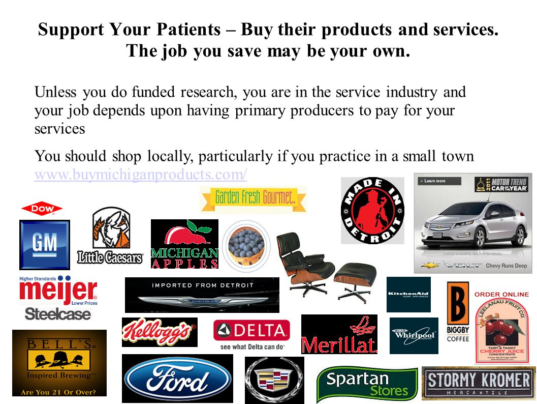 6060 Support Your Patients – Buy their products and services. The job you save may be your own.
