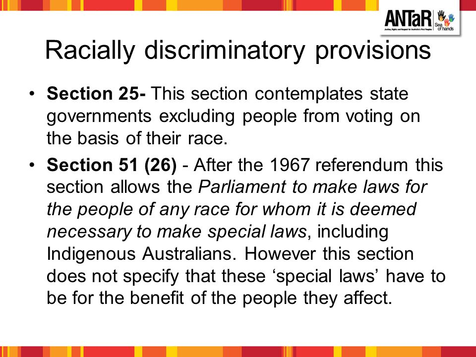 Racially discriminatory provisions