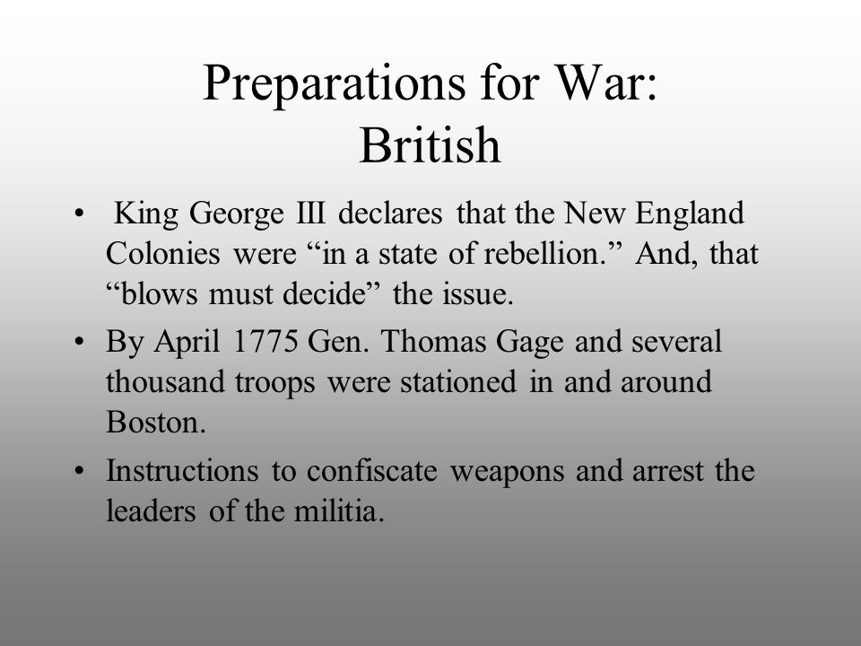 Preparations for War: British