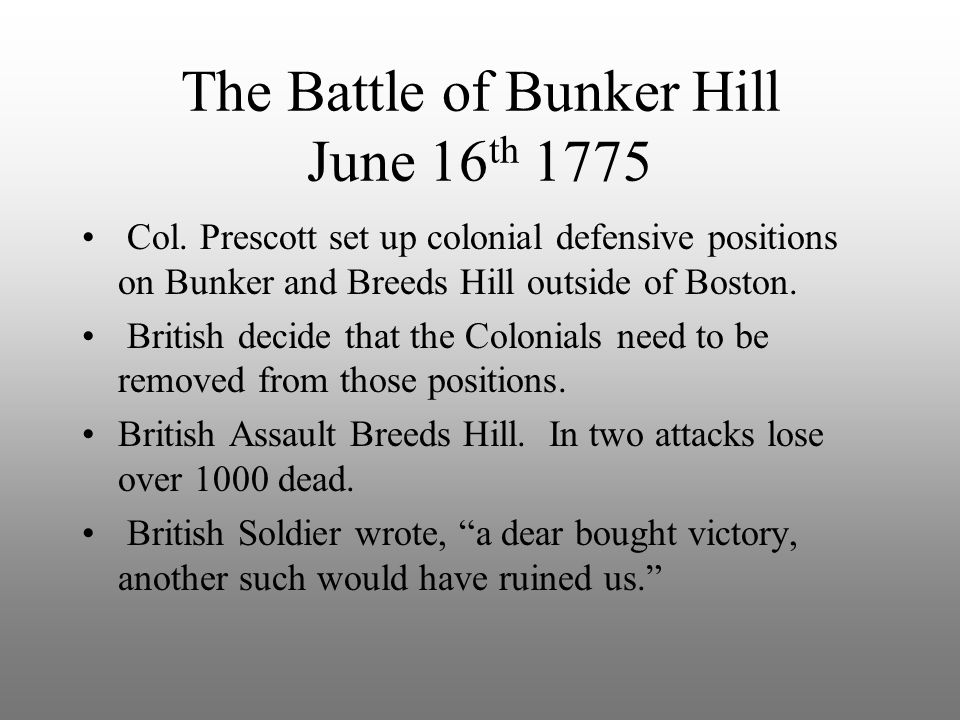 The Battle of Bunker Hill June 16th 1775