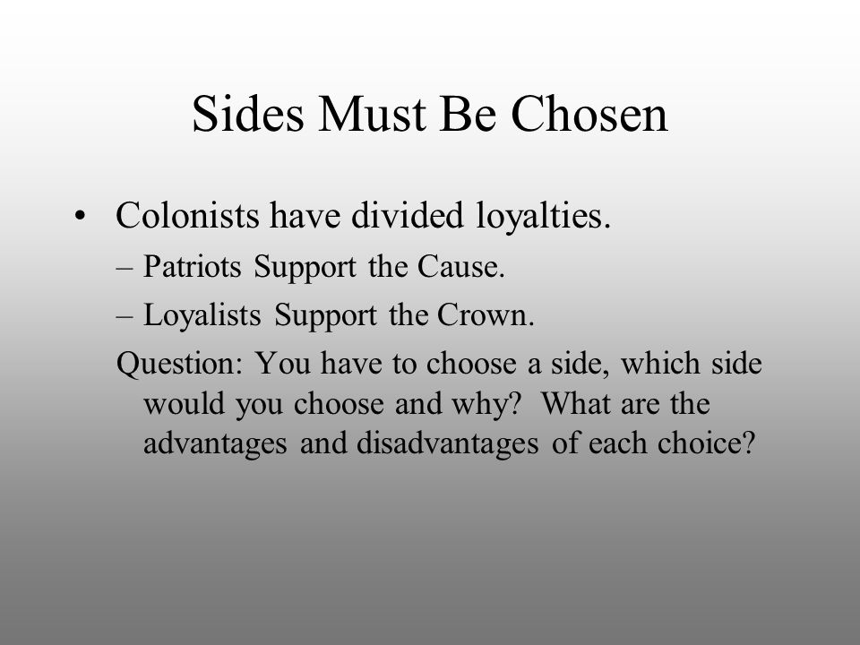 Sides Must Be Chosen Colonists have divided loyalties.