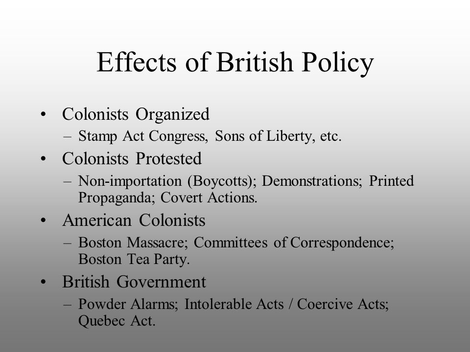 Effects of British Policy