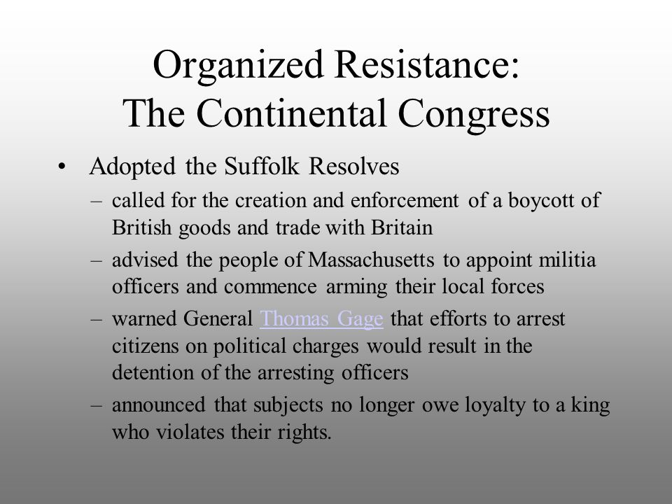 Organized Resistance: The Continental Congress