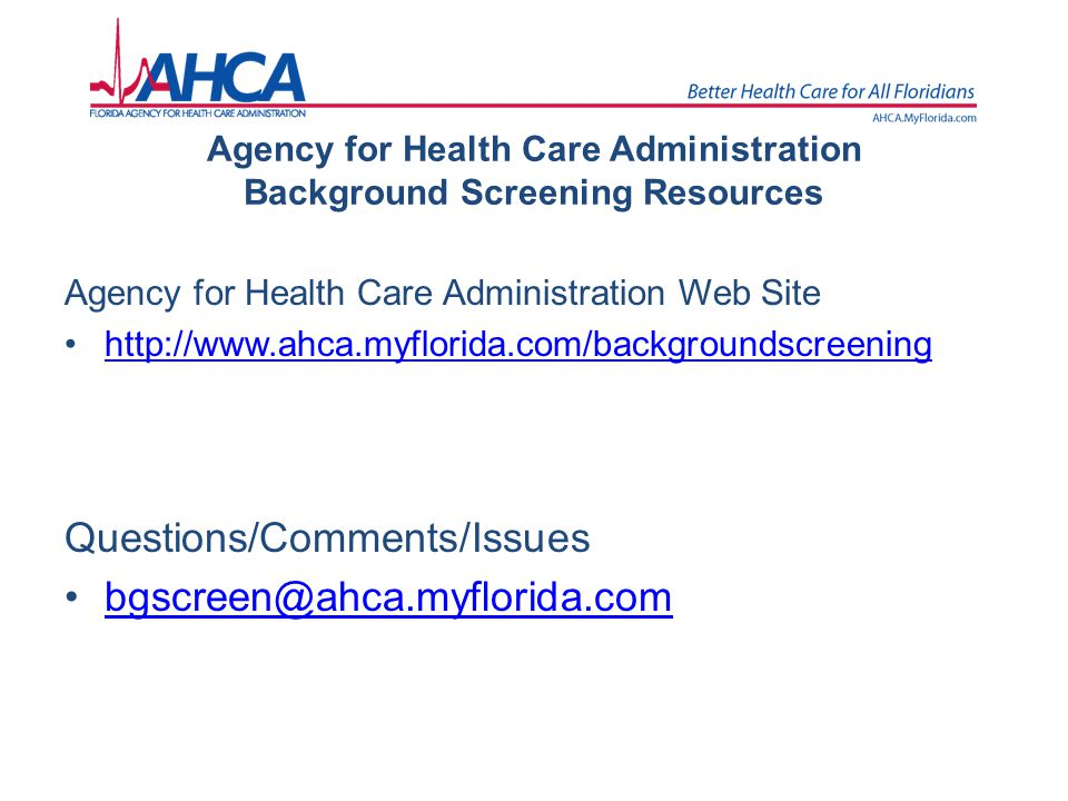 Agency for Health Care Administration Background Screening Resources