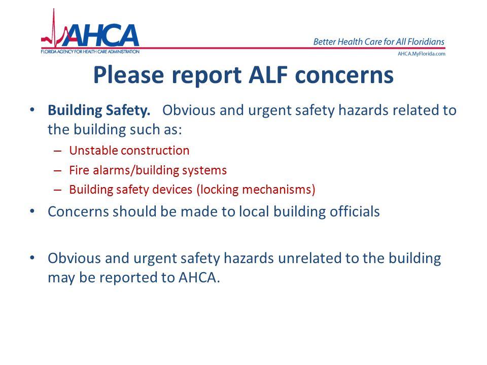 Please report ALF concerns