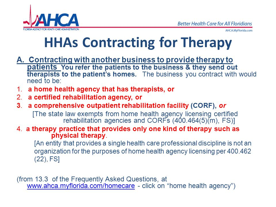 HHAs Contracting for Therapy