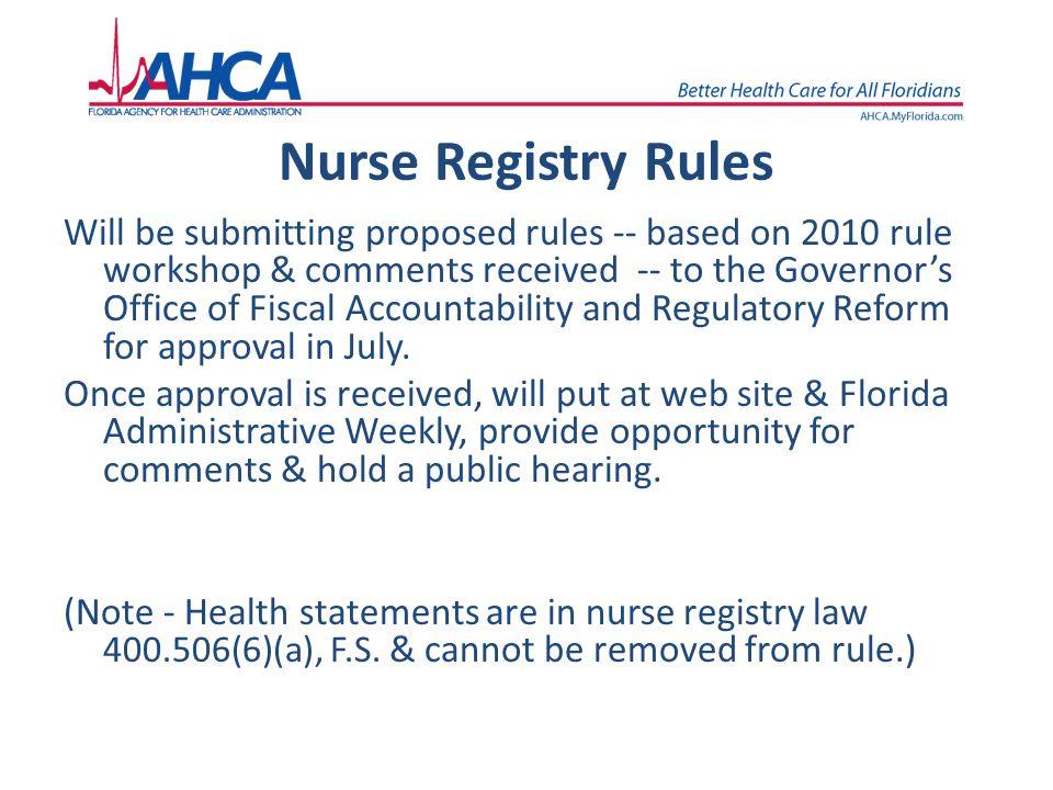 Nurse Registry Rules