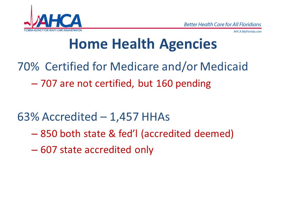 Home Health Agencies 70% Certified for Medicare and/or Medicaid