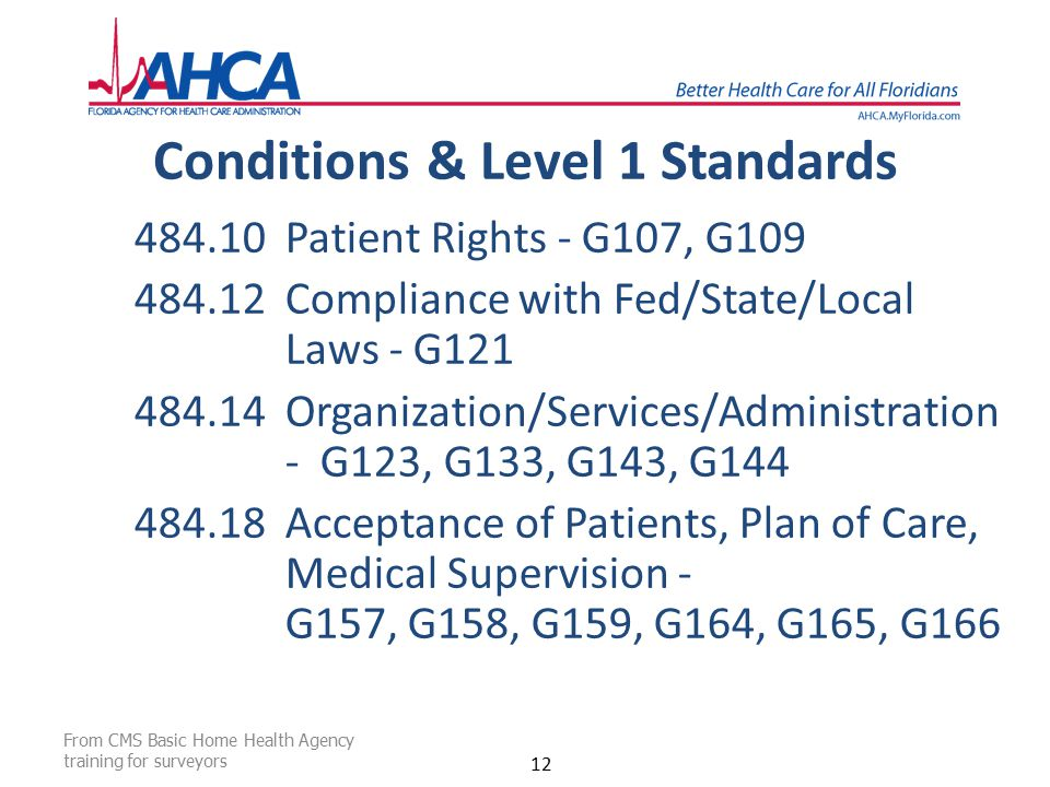 Conditions & Level 1 Standards