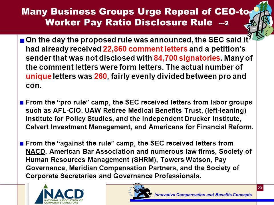 Business Groups Urge Repeal of CEO-to-Worker Pay Ratio Disclosure Rule --3