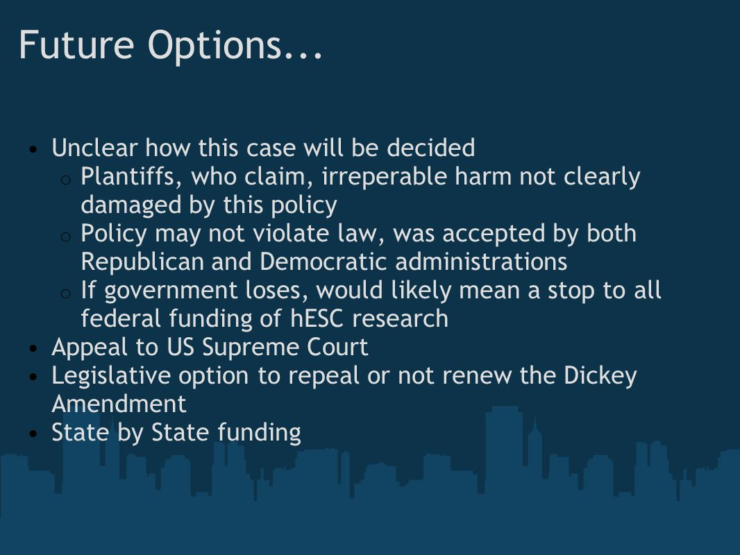 Future Options... Unclear how this case will be decided