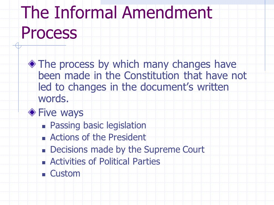 The Informal Amendment Process