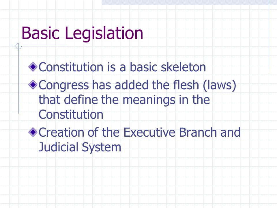 Basic Legislation Constitution is a basic skeleton