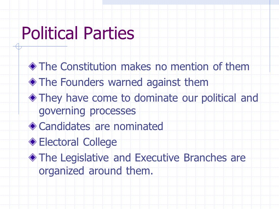 Political Parties The Constitution makes no mention of them
