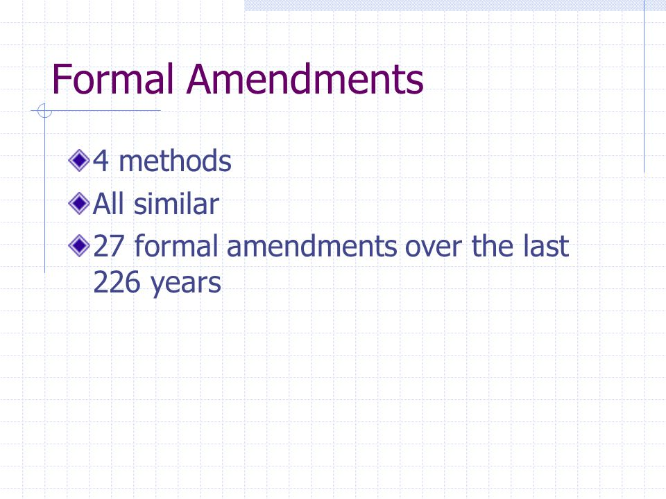 Formal Amendments 4 methods All similar