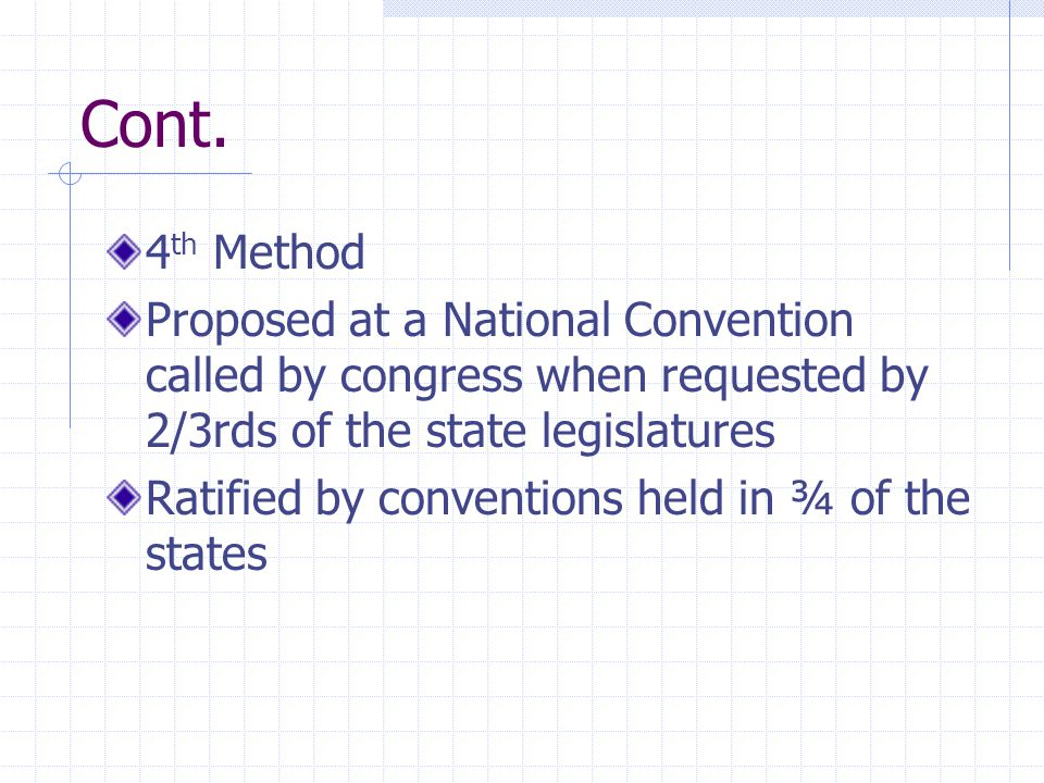 Cont. 4th Method. Proposed at a National Convention called by congress when requested by 2/3rds of the state legislatures.