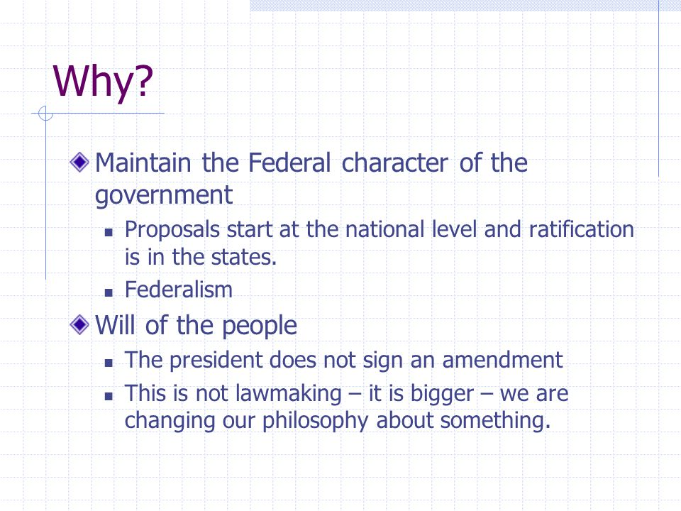 Why Maintain the Federal character of the government