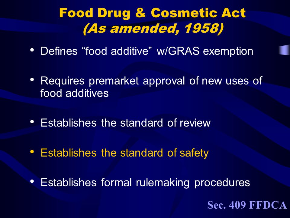 Food Drug & Cosmetic Act