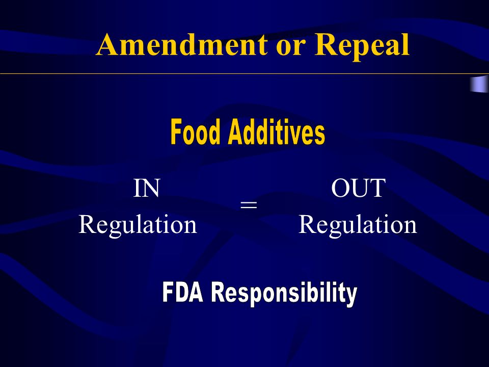 Amendment or Repeal = IN Regulation OUT Regulation Food Additives