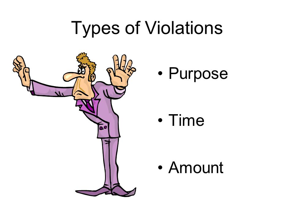 Types of Violations Purpose Time Amount