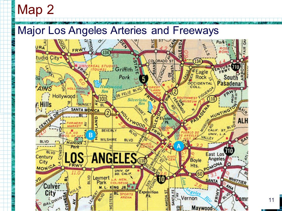 Map 2 Major Los Angeles Arteries and Freeways