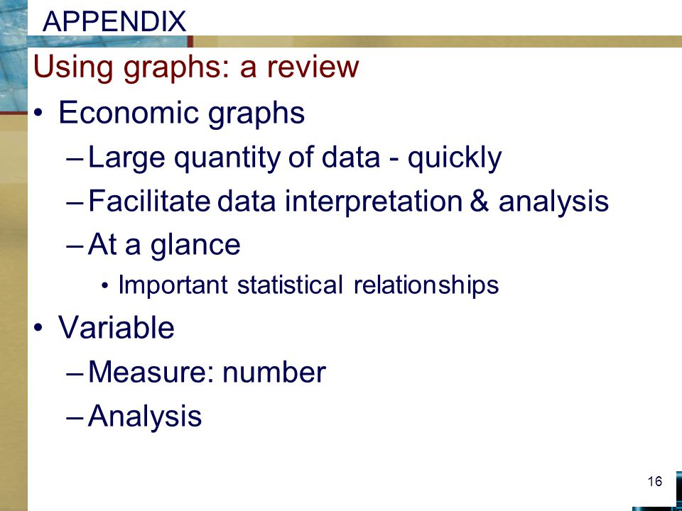 Using graphs: a review Economic graphs Variable