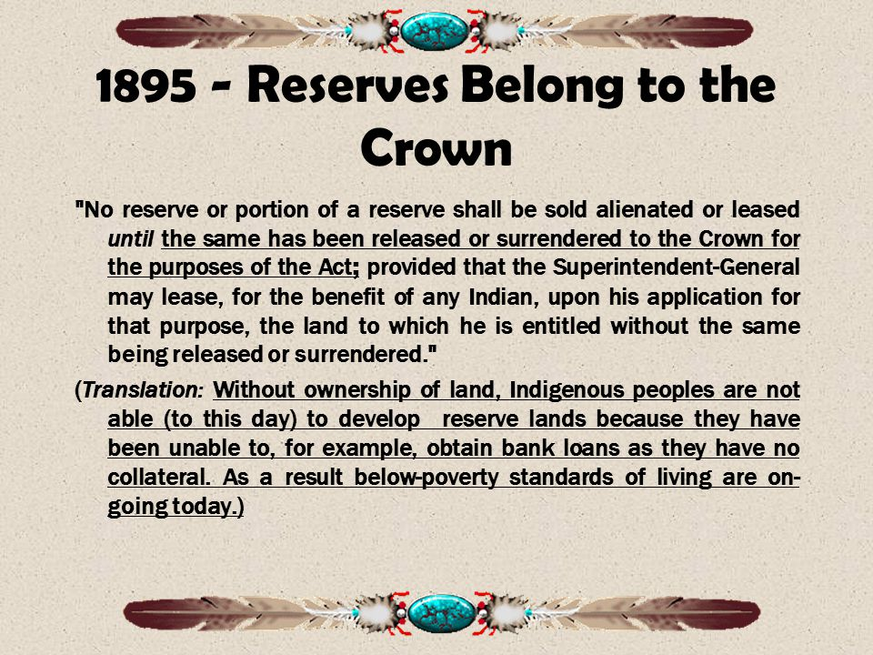 1895 - Reserves Belong to the Crown
