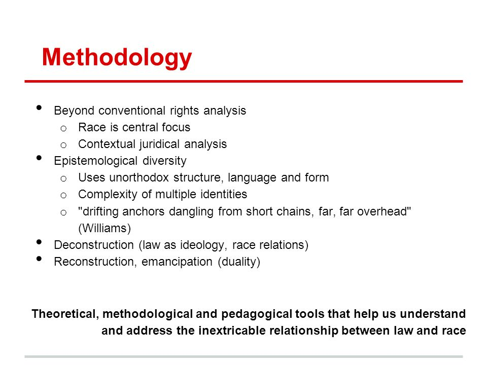 Methodology Beyond conventional rights analysis Race is central focus