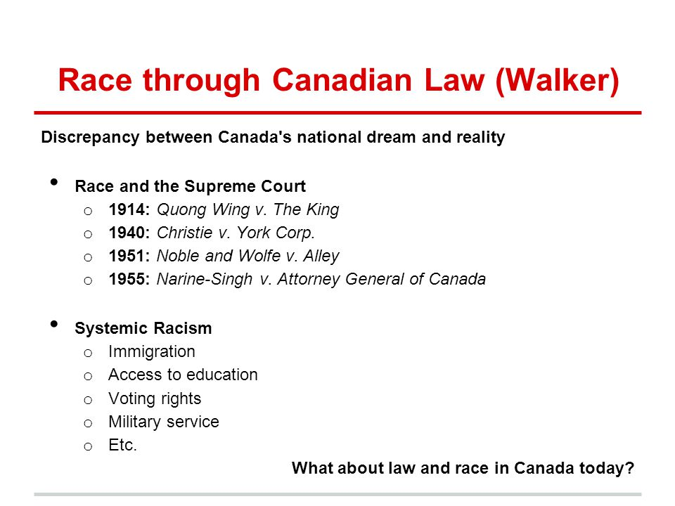 Race through Canadian Law (Walker)