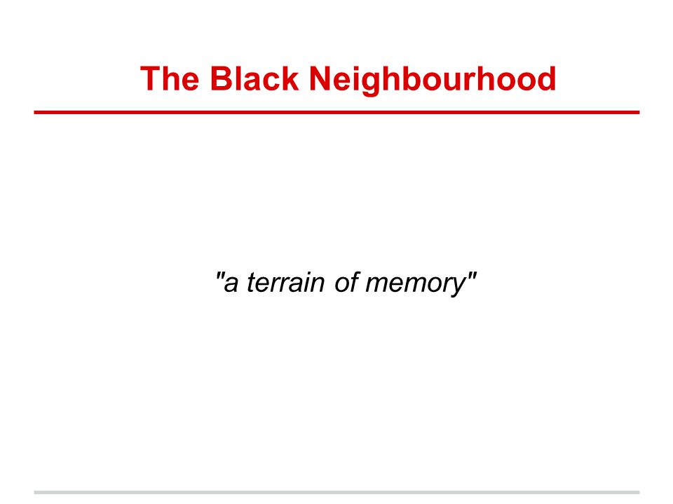 The Black Neighbourhood