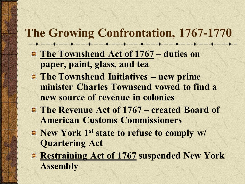 The Growing Confrontation, 1767-1770