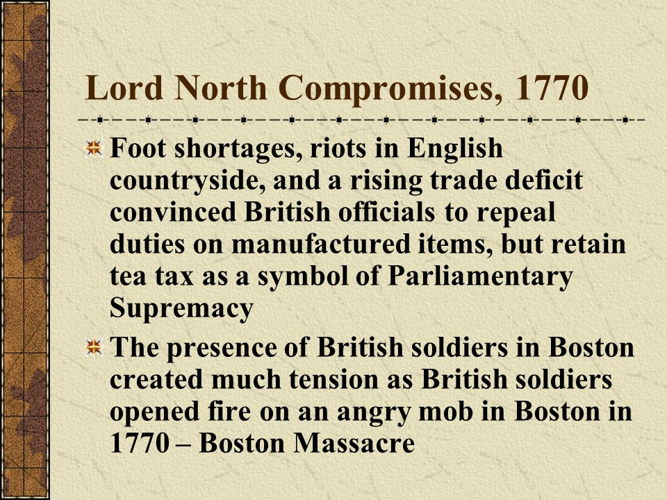 Lord North Compromises, 1770