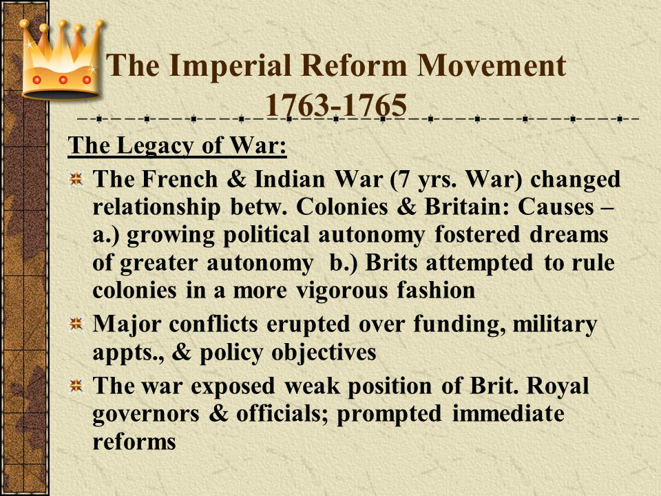 The Imperial Reform Movement 1763-1765