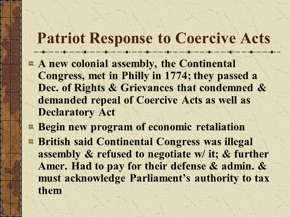 Patriot Response to Coercive Acts