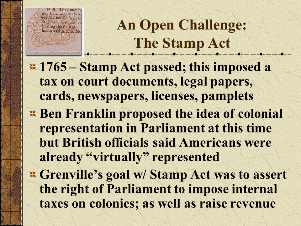 An Open Challenge: The Stamp Act