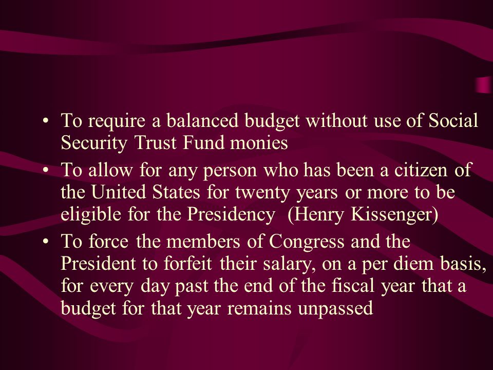 To require a balanced budget without use of Social Security Trust Fund monies