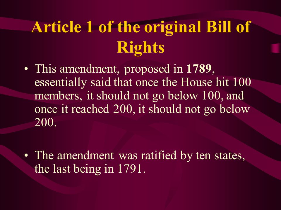 Article 1 of the original Bill of Rights
