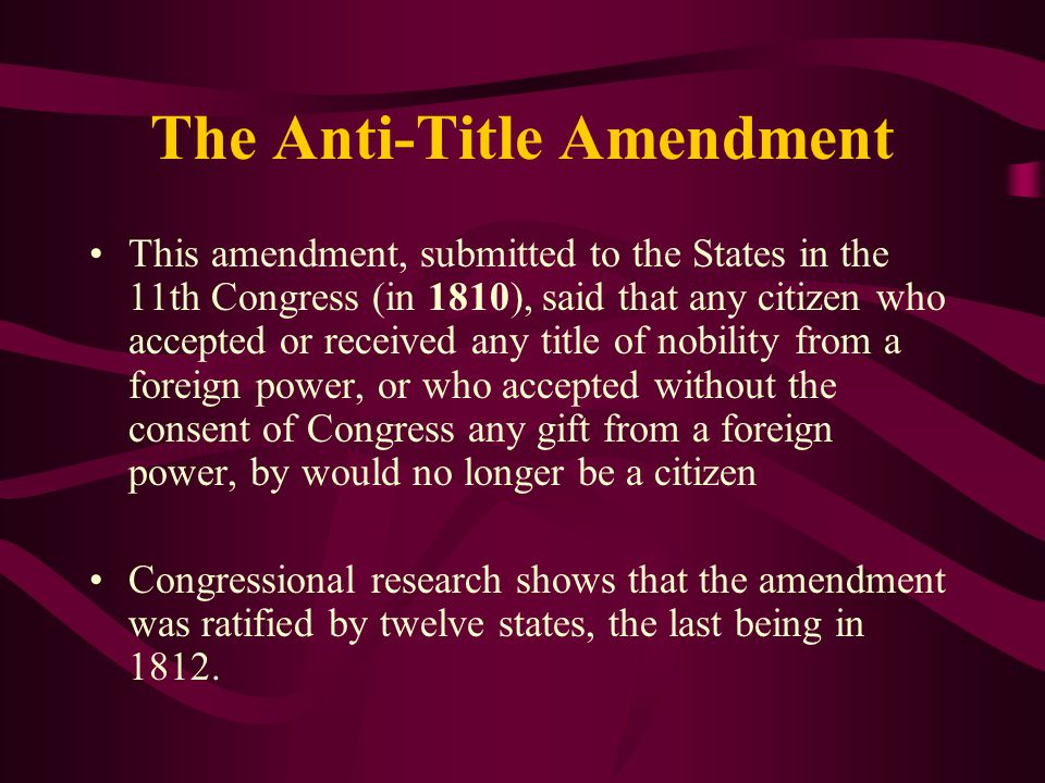 The Anti-Title Amendment