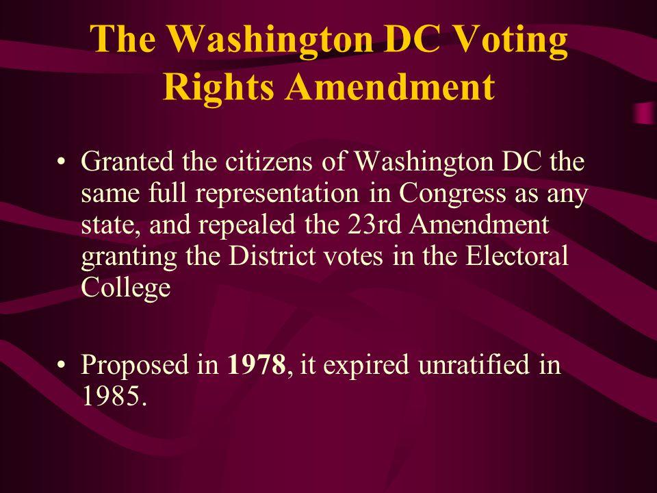 The Washington DC Voting Rights Amendment