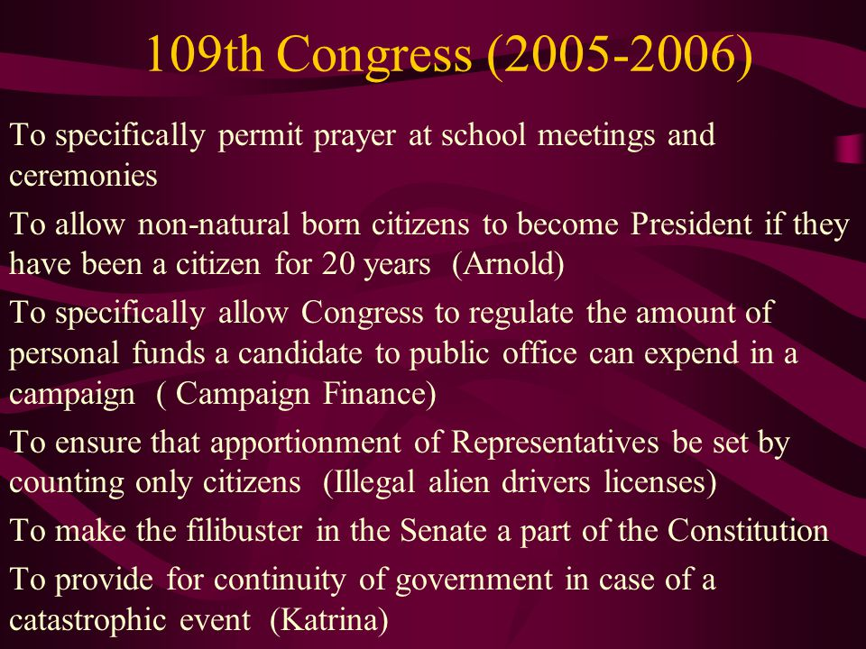 109th Congress (2005-2006) To specifically permit prayer at school meetings and ceremonies.