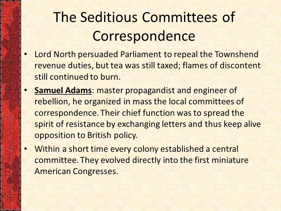 The Seditious Committees of Correspondence