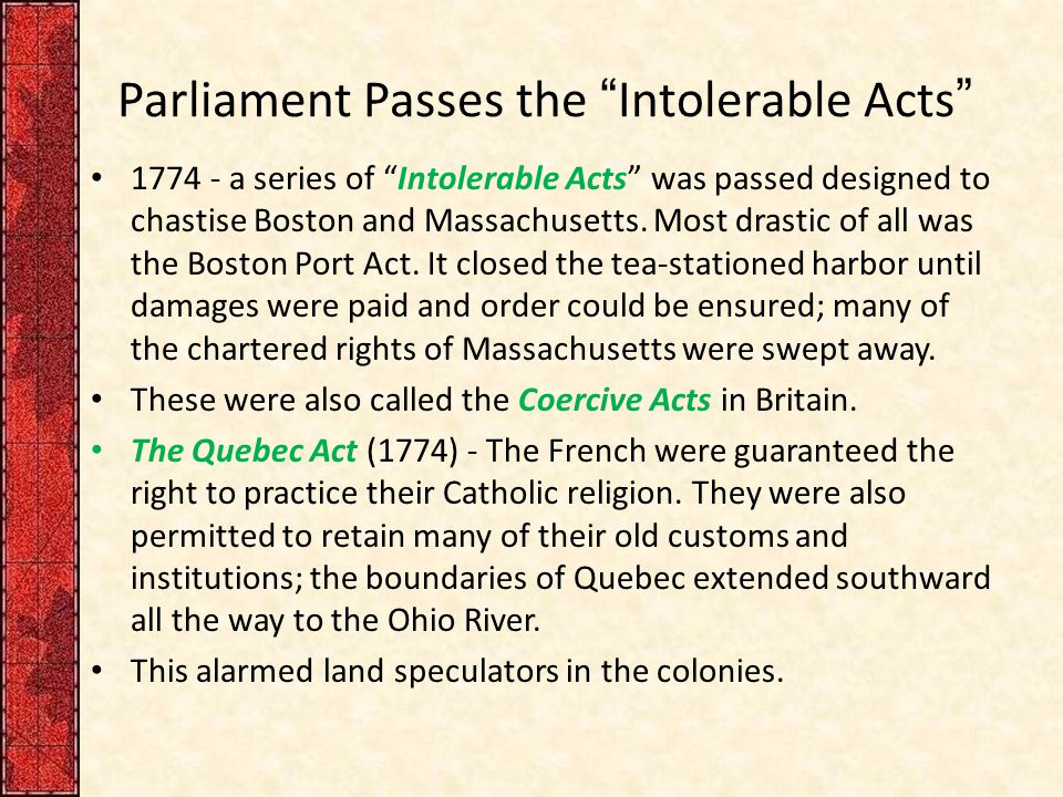 Parliament Passes the Intolerable Acts