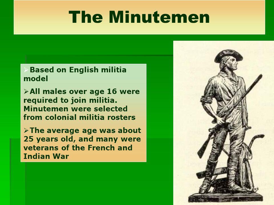 The Minutemen Based on English militia model