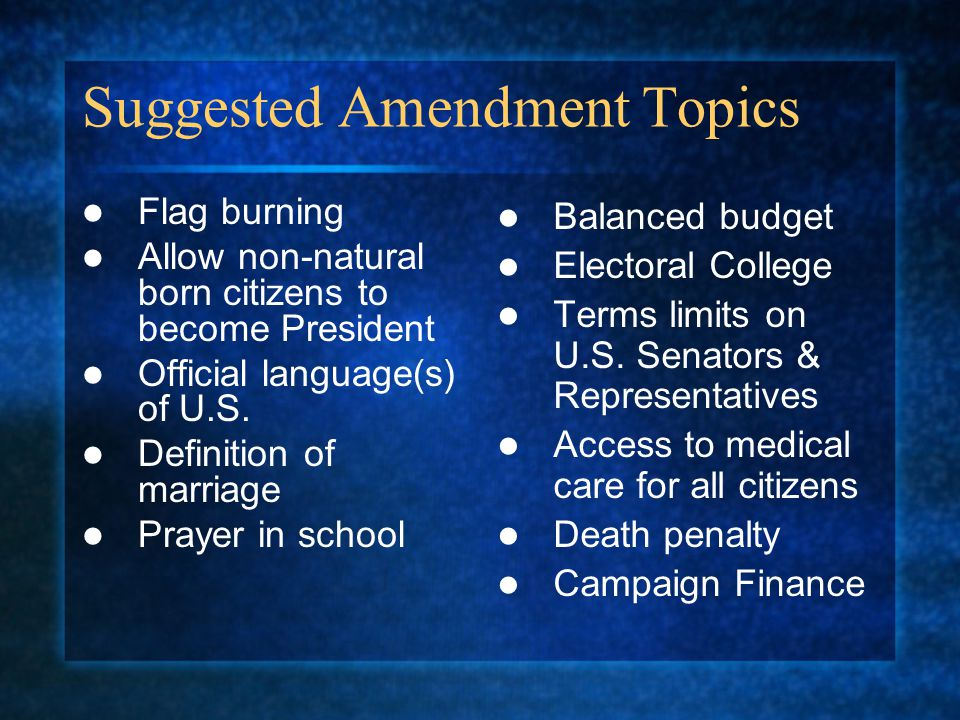 Suggested Amendment Topics