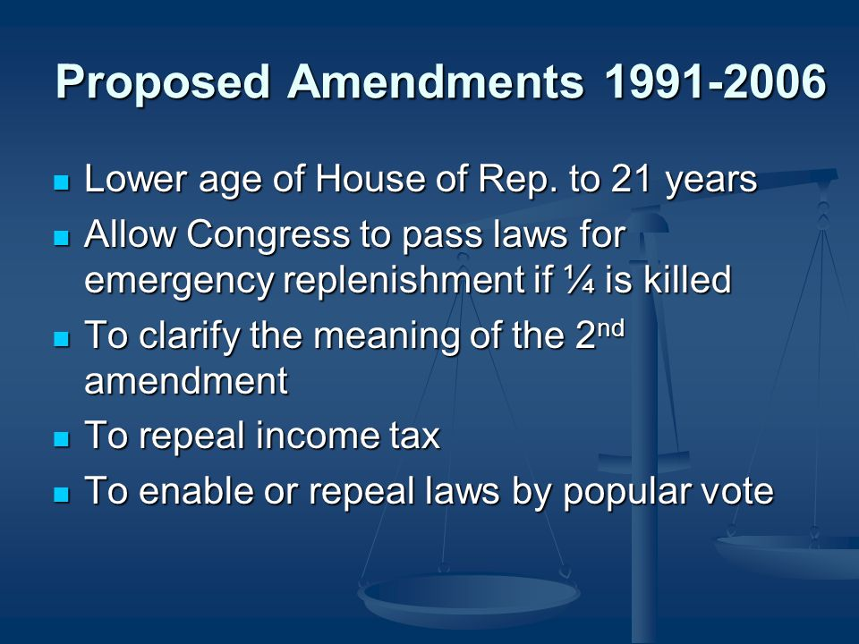 Proposed Amendments 1991-2006 Lower age of House of Rep. to 21 years